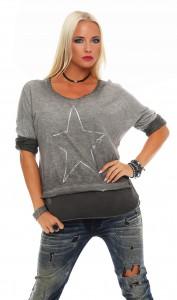 IKONA21 - Fashion - Damen - Oversize - Shirt - Bluse - Tunika - Longshirt - Sweatshirt