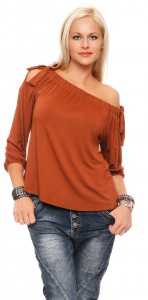 IKONA21 Fashion Damen Oversize Shirt Offshoulder Bluse Tunika