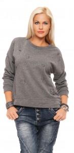 IKONA21 Fashion Damen Oversize Shirt Sweatshirt Pulli