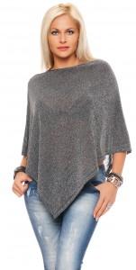 IKONA21 Fashion Damen Oversize Shirt Poncho Cape Umhang