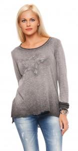 IKONA21 Fashion Damen Oversize Shirt Sweat Pulli Bluse Tunika