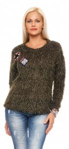 IKONA21 Fashion Damen Oversize Shirt Pulli Sweat Bluse Tunika