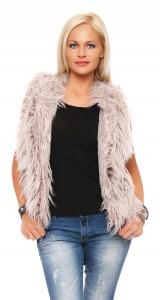 IKONA21 Fashion Damen Oversize Shirt Fellweste Weste