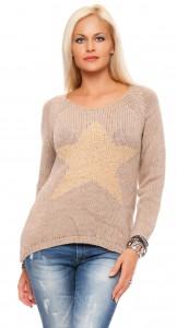 IKONA21 Fashion Damen Oversize Shirt Pulli Pullover Sweatshirt