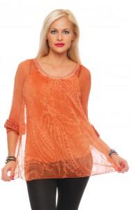 IKONA21 Fashion Damen Oversize Shirt Bluse Tunika Boho-Style Hippie Longshirt