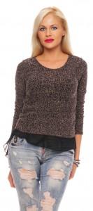 IKONA21 Fashion Damen Oversize Shirt Bluse Tunika Pulli Sweatshirt 2in1-Optik Boucle-effekt  Longshirt