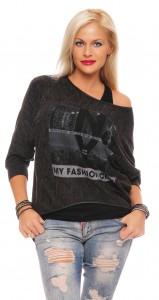 IKONA21 Fashion Damen Oversize Shirt Bluse Tunika Pulli Sweatshirt 2in1-Effekt Fledermausarm Batwing  Longshirt