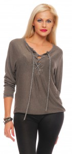 IKONA21 Fashion Damen Oversize Shirt Bluse Tunika Pulli Sweatshirt Fledermausarm Batwing  Longshirt