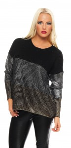IKONA21 Fashion Damen Oversize Shirt Sweatshirt Pulli  Bluse Tunika Longshirt