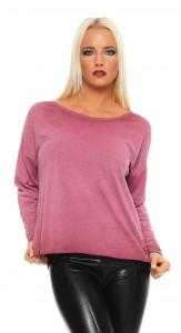 IKONA21 Fashion Damen Oversize Shirt Sweatshirt Bluse Tunika Longshirt