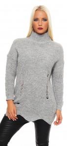 IKONA21 Fashion Damen Pulli Pullover Sweat Shirt  Longshirt