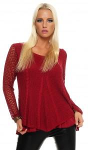 IKONA21 Fashion Damen Shirt Bluse Tunika Strickpulli Longshirt