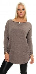 IKONA21 Fashion Damen Oversize Pulli Pullover Sweat Shirt Longshirt