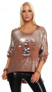 IKONA21 Fashion Damen Oversize Shirt Pulli  Bluse Tunika Longshirt