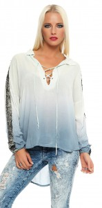 IKONA21 Fashion Damen Oversize Shirt Bluse Tunika Longshirt